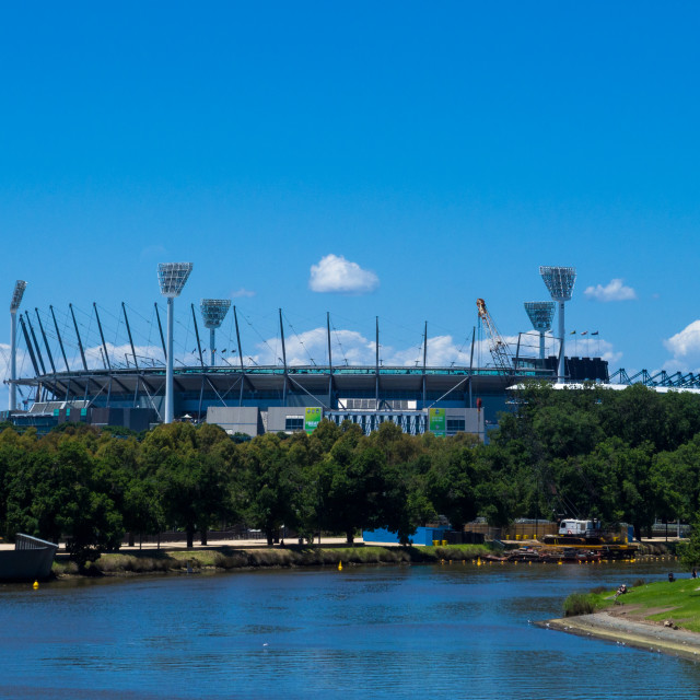 """The Yarra river and the Melbourne Cricket Ground (MCG), Melbourn"" stock image"