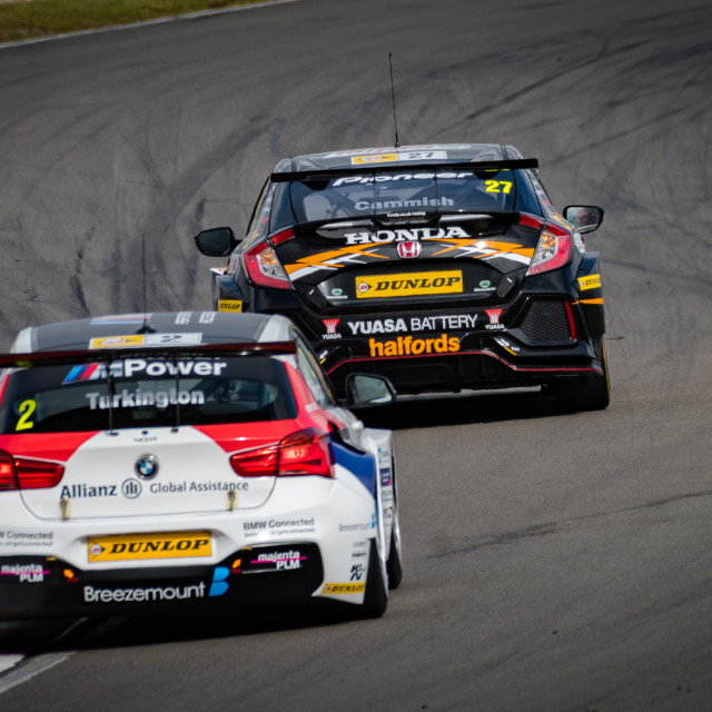 """Colin Turkington chasing down Matt Neal"" stock image"