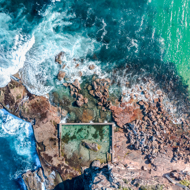 """Sydney aerial Curl Curl rock pool"" stock image"