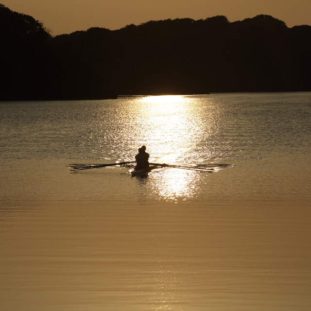 """""""Rowing on Lough Leanne Ireland"""" stock image"""