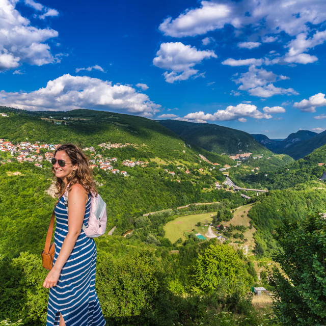 """July 10, 2016: A girl visiting the top of Sarajevo, Bosnia and Herzegovina"" stock image"