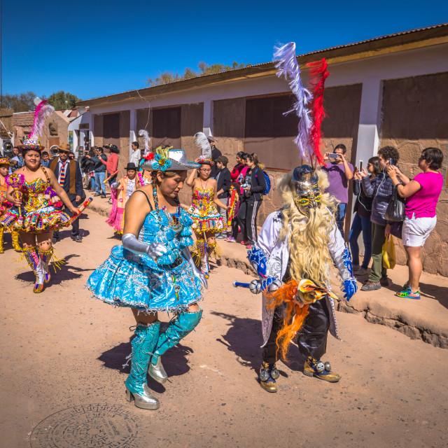 """San Pedro de Atacama, Chile - July 16, 2017: Traditional parade in San Pedro..."" stock image"