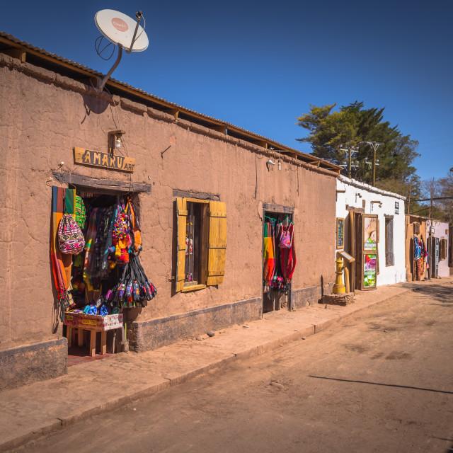 """San Pedro de Atacama, Chile - July 16, 2017: Historic center of San Pedro de..."" stock image"