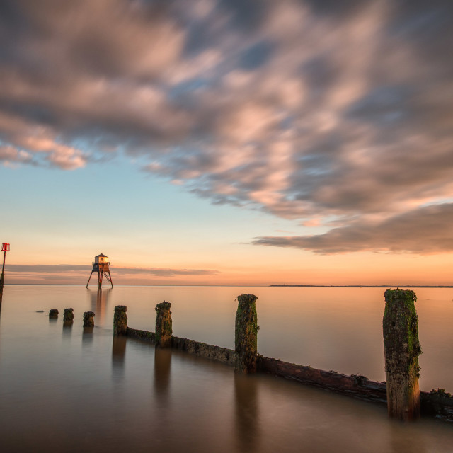 """Sunset Over Harwich Lighthouse"" stock image"