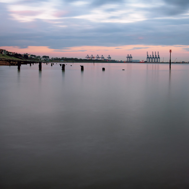 """Calm Dovercourt Beach"" stock image"