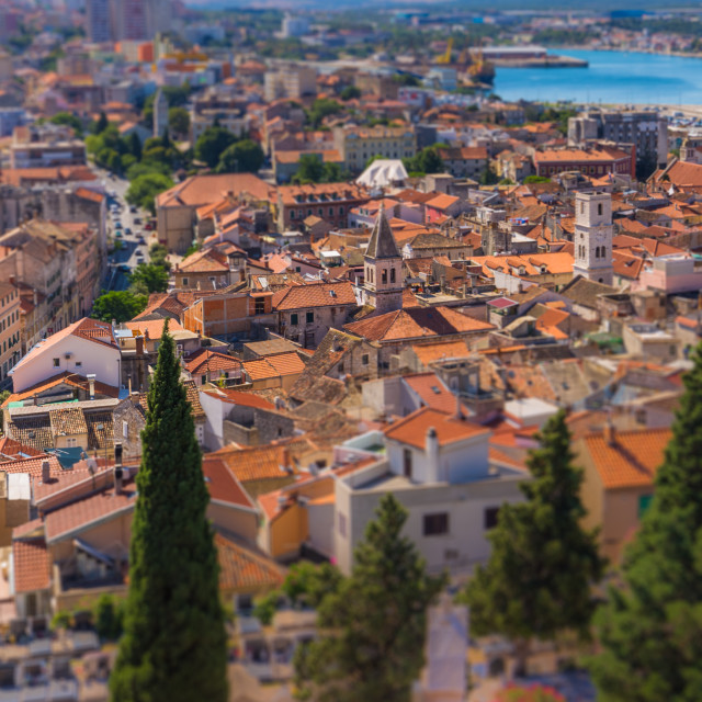 """July 20, 2016: Panoramic view of the old town of Sibenik, Croatia"" stock image"