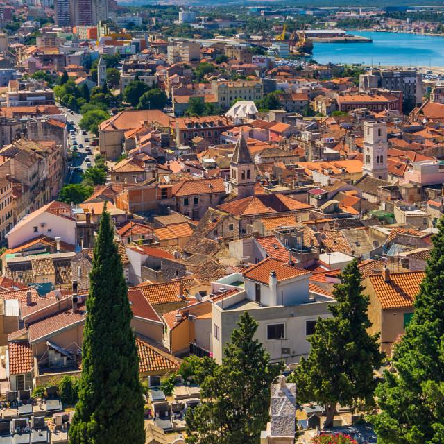 """July 20, 2016: Panoramic view of the old town of Sibenik, Croatia"" stock image"