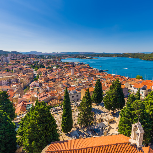 """July 20, 2016: Wide angle shot of the old town of Sibenik, Croatia"" stock image"
