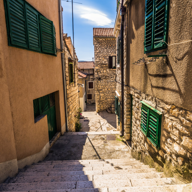 """July 20, 2016: Street going down in the old town of Sibenik, Croatia"" stock image"