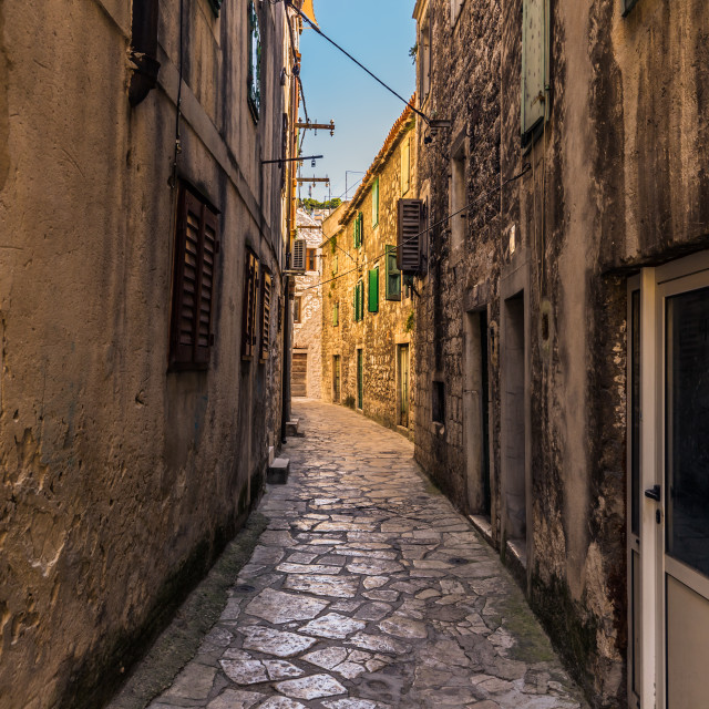 """July 20, 2016: Cobblestone street of the old town of Sibenik, Croatia"" stock image"