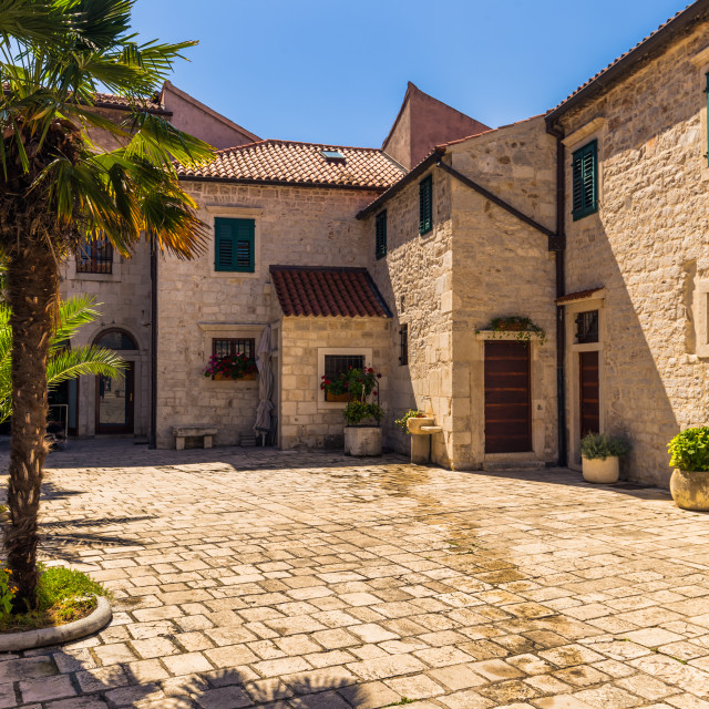 """July 20, 2016: A little courtyard in the old town of Sibenik, Croatia"" stock image"
