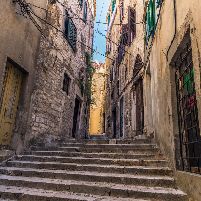 """July 20, 2016: A narrow road in the old town of Sibenik, Croatia"" stock image"