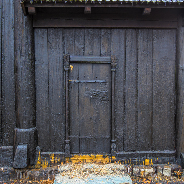 """""""Lillehammer, Norway - May 13, 2017: Door of Garmo Stave Church in..."""" stock image"""