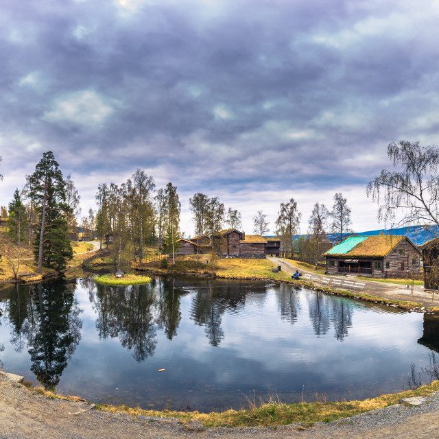 """""""Lillehammer, Norway - May 13, 2017: Panorama of Maihaugen open air museum in..."""" stock image"""