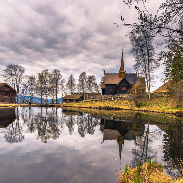 """""""Lillehammer, Norway - May 13, 2017: Garmo Stave Church in Lillehammer, Norway"""" stock image"""