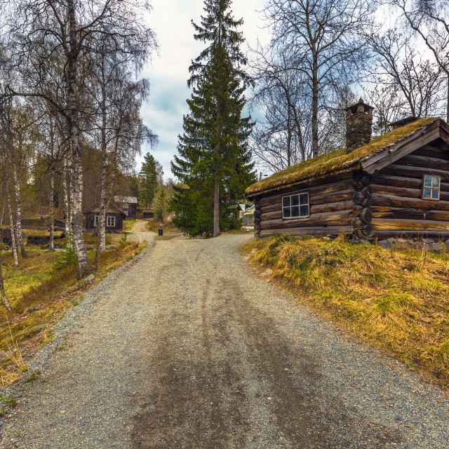 """""""Lillehammer, Norway - May 13, 2017: Traditional houses in Maihaugen open air..."""" stock image"""