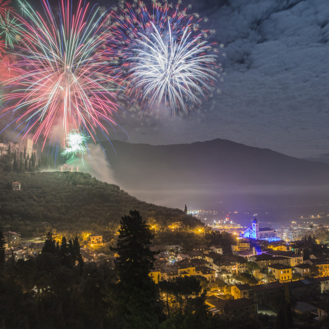 """Fireworks over the castle."" stock image"