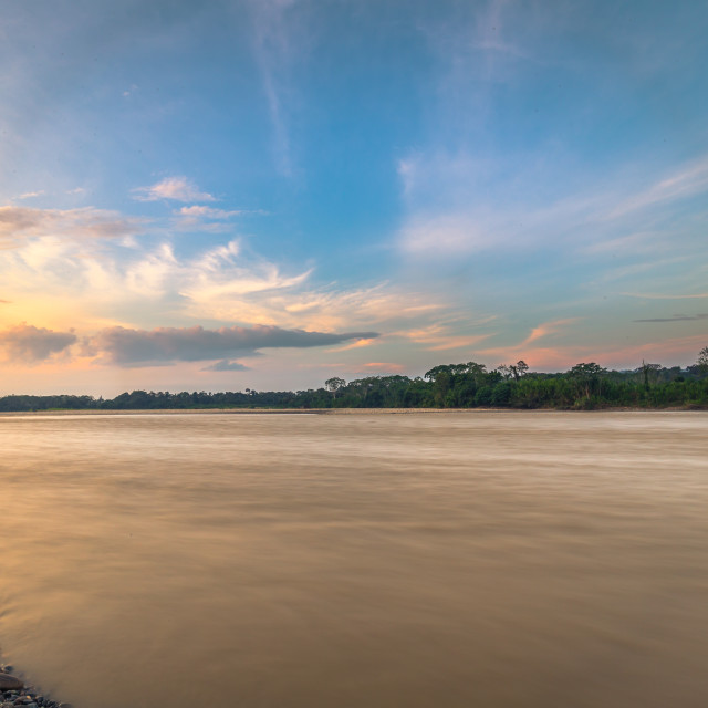 """""""Manu National Park, Peru - August 09, 2017: Madre de Dios river in the Amazon..."""" stock image"""