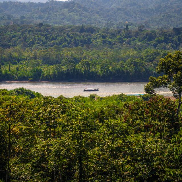 """Manu National Park, Peru - August 10, 2017: Landscape of the Amazon..."" stock image"
