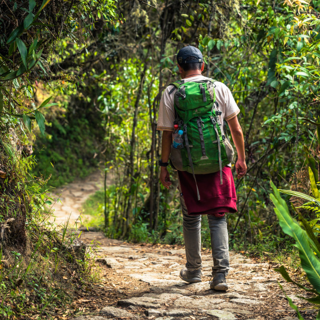 """Inca Trail, Peru - August 03, 2017: Backpacker on the Inca Trail, Peru"" stock image"