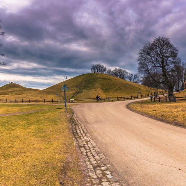 """""""Old Uppsala - April 08, 2017 : Viking graves of Old Uppsala, Sweden"""" stock image"""