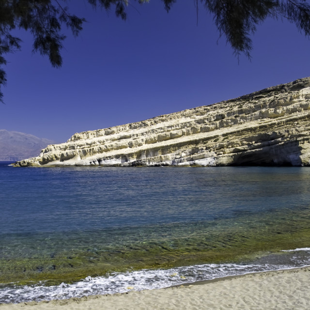 """Hippie caves at Matala"" stock image"