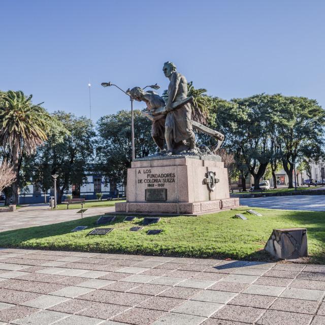 """""""Nueva Helvecia - July 02, 2017: Center of the town of Nueva Helvecia, Uruguay"""" stock image"""