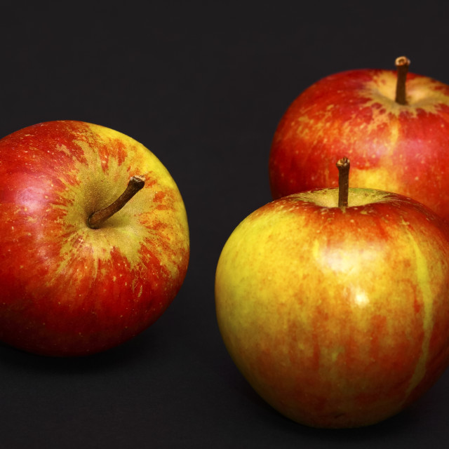 """Three red ripe apples"" stock image"