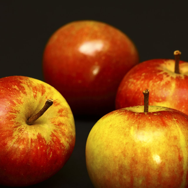 """""""Four red ripe apples"""" stock image"""