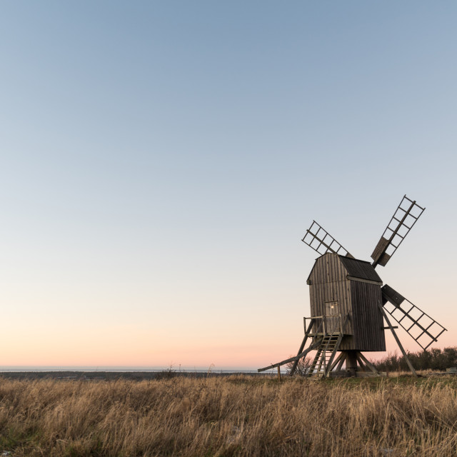 """Old wooden windmill"" stock image"