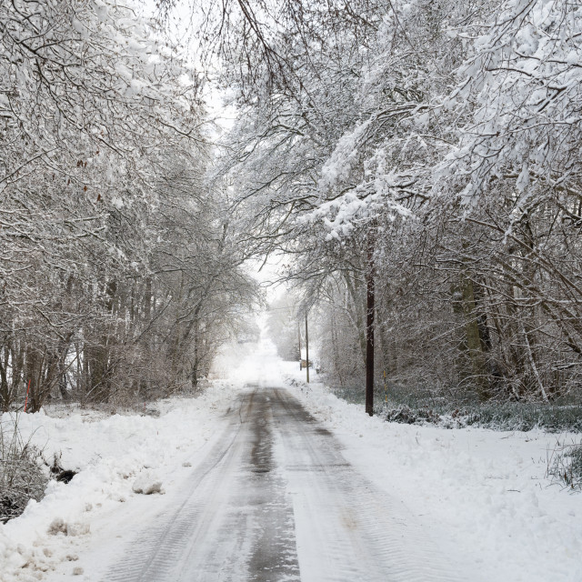 """Snowy narrow country road"" stock image"