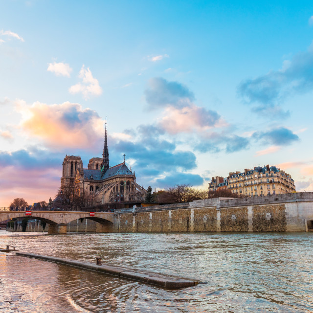 """Sunset colours over Paris"" stock image"