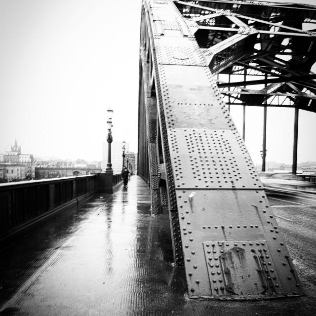 """Tyne bridge in the rain"" stock image"