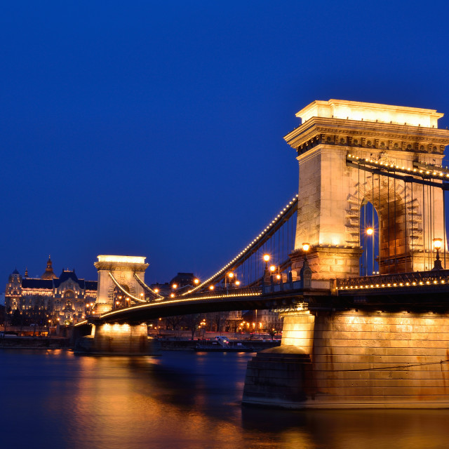 """Széchenyi Chain bridge over Danube river, Budapest, Hungary."" stock image"