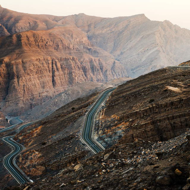 """Jabal Jais mountain road in n United Arab Emirates"" stock image"