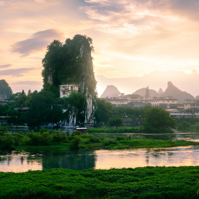 """Sunset scene in Guilin, China, with stunning rock formation"" stock image"