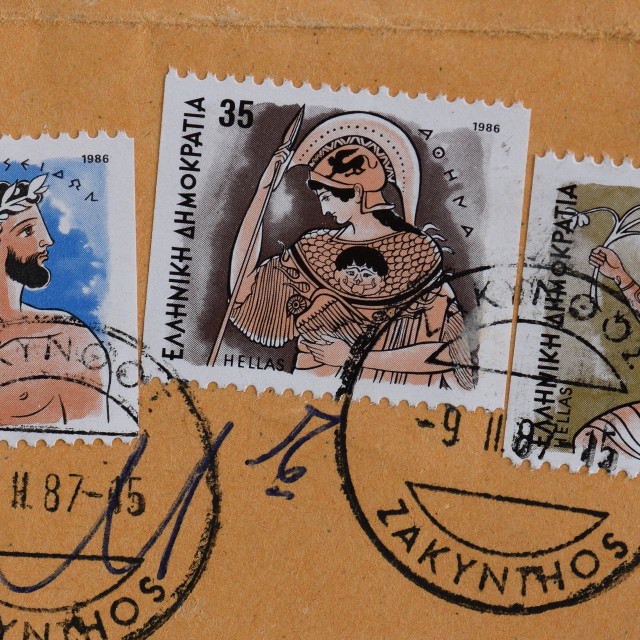 """ancient greek gods postage stamps"" stock image"