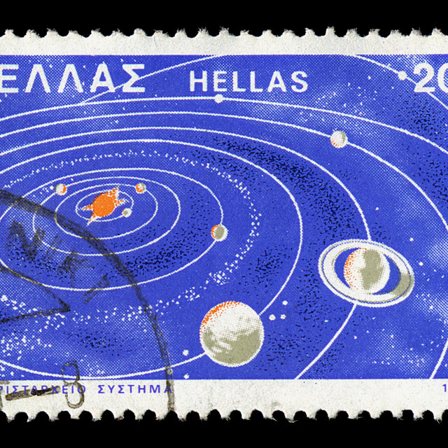 """solar system postage stamp"" stock image"