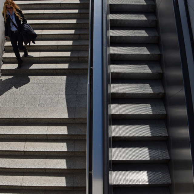 """woman subway steps"" stock image"