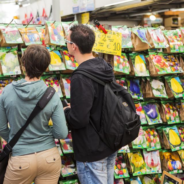 """""""People browsing in Bloemenmarkt, Amsterdam, Netherlands"""" stock image"""