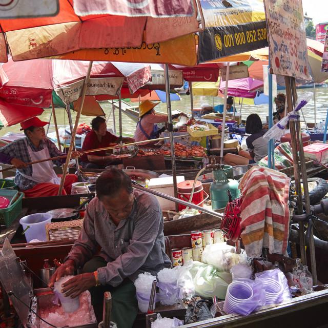 """""""floating food stalls at Amphawa floating market, Bangkok, Thailand"""" stock image"""