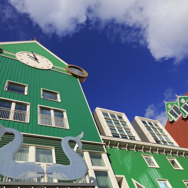 """Railway Station & Town Hall, Zaandam, Holland, Netherlands, Europe"" stock image"