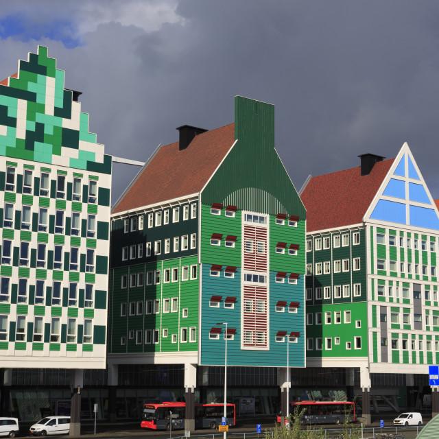 """Colorful architecture, Zaandam, Holland, Netherlands, Europe"" stock image"