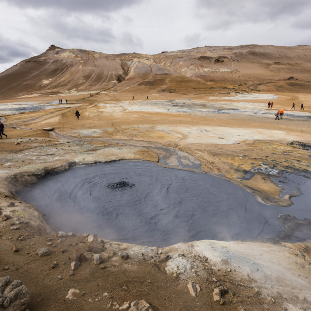 """""""Hverarönd mud pots, steam vents, and sulphur deposits on the north coast of..."""" stock image"""