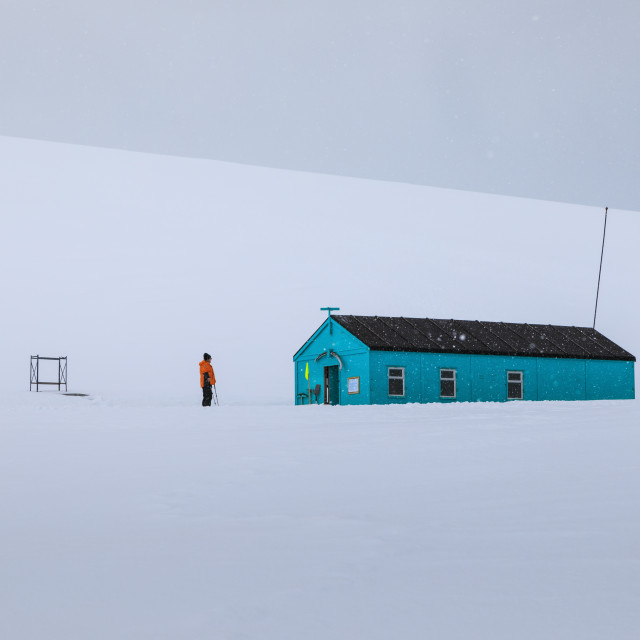 """Damoy Hut, expedition ship visitor in the snow, Historic Monument, Dorian..."" stock image"