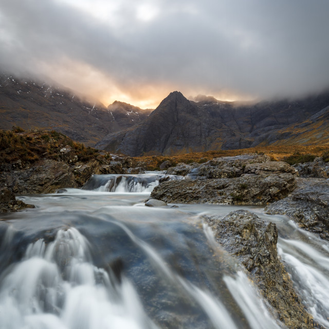 """""""The Black Cuillin mountains in Glen Brittle from the Fairy Pools, Isle of..."""" stock image"""