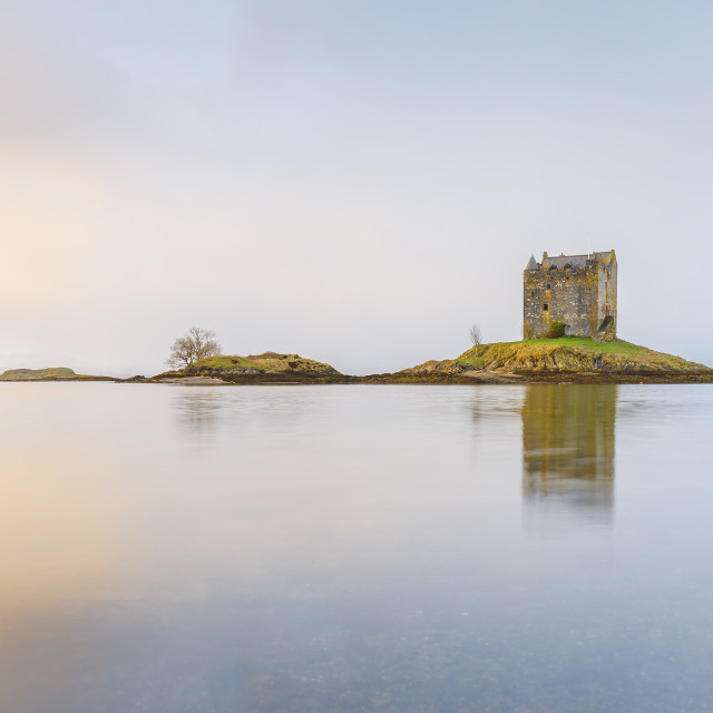 """""""Castle Stalker on its own island in Loch Linnhe surrounded by mist, Argyll,..."""" stock image"""