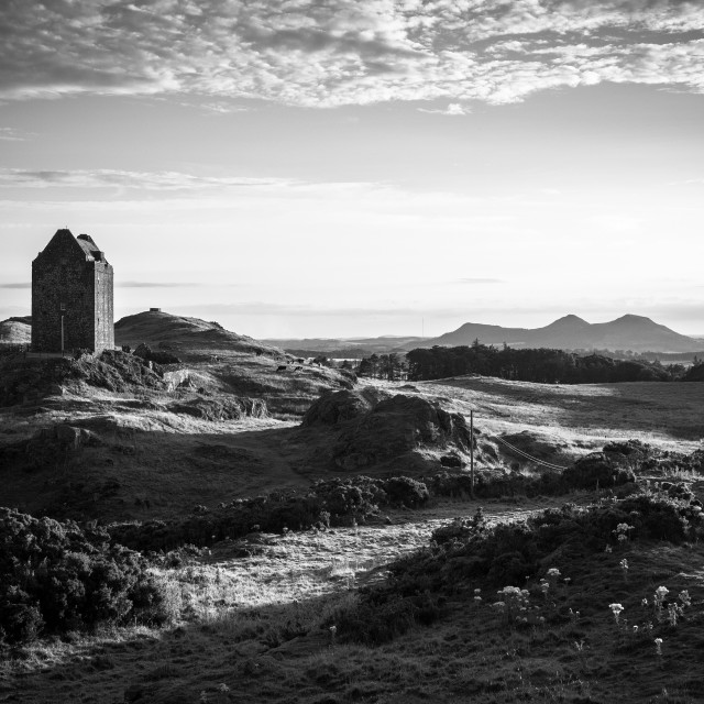 """Sunset Over Smailholm Tower"" stock image"