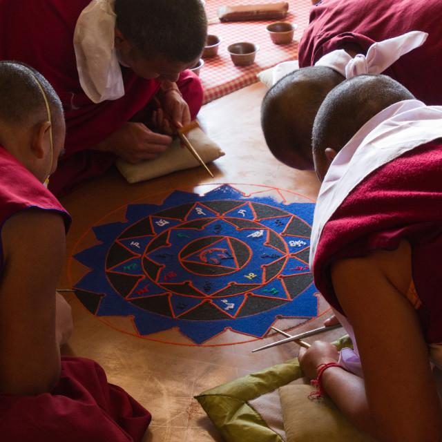 """""""Buddhist monks making a sacred Mandala, Gyuto Tantric Monastery, Dharamsala,..."""" stock image"""