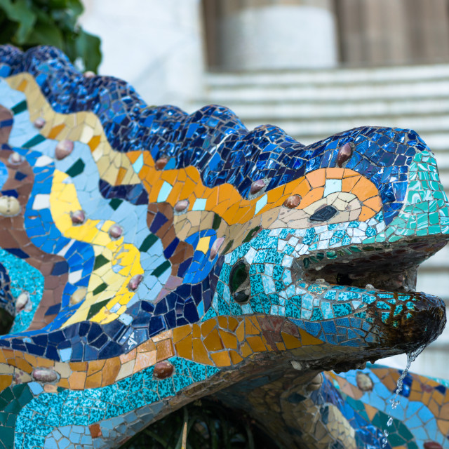 """Gaudí's multicolored mosaic salamander, popularly known as 'el drac' (the..."" stock image"